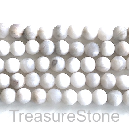 Bead, white crazy lace agate, 8mm round. 15.5 inch, 47pcs