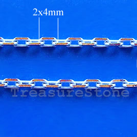 Chain,brass,white-gold finished, 2x4mm rectangle. Pkg of 1 meter