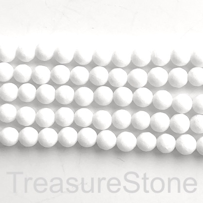 "Bead, white jade, solid white, 8mm faceted round. 15.5"", 46pcs."
