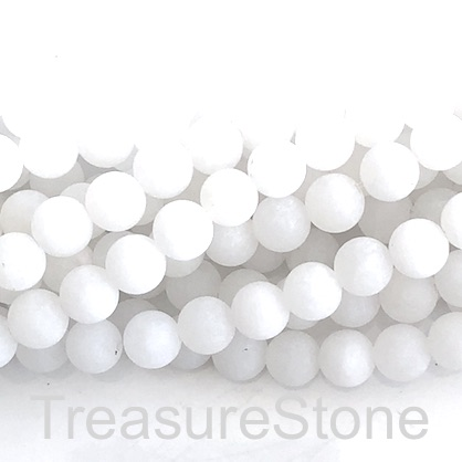 Bead, white jade, matt, 8mm round, grade B. 15-inch, 48pcs.