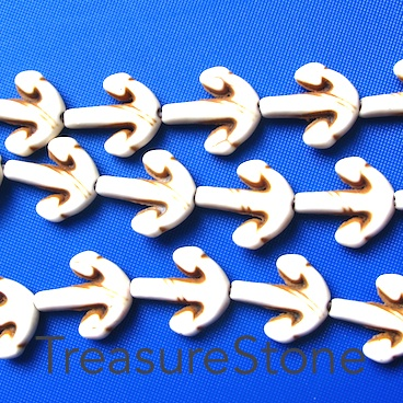 Bead, white turquoise, 14x15 anchor. 16-inch/26pcs