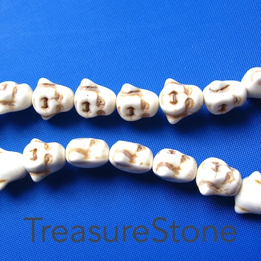 Bead, white turquoise, 12mm laughing buddha head. 35pcs