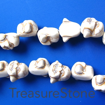 Bead, white turquoise, 17x19mm laughing buddha head. 25pcs