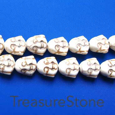 Bead, white turquoise, 15mm laughing buddha head. 27pcs