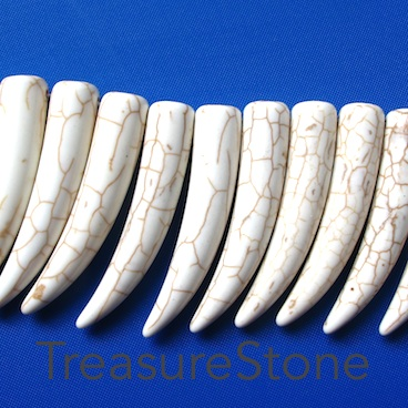 Bead/pendant, white turquoise, 10x39mm teeth. 36pcs.