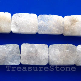 Bead, white druzy agate, hand-cut Rectangle, 14x18mm. 16-inch
