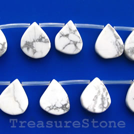 Bead, white howlite,14x18mm flat teardrop. Sold per pkg of 21pcs