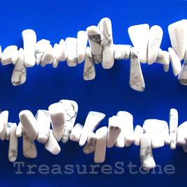 Bead, white howlite, about 9x18mm. Sold per 16-inch strand.