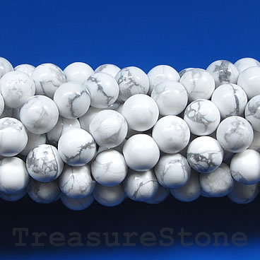 Bead, white howlite, 8mm. Sold per 15-inch, 45pcs.