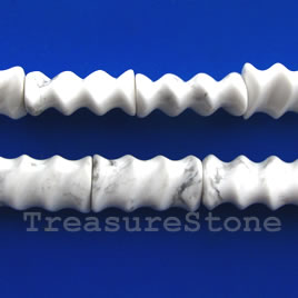 Bead, white howlite, 11x20x8mm ridged tube. 16-inch strand.