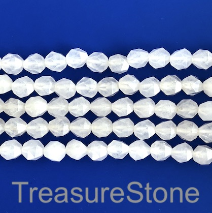 Bead, white jade, 7x8mm, faceted nugget, star cut. 14.5-inch, 45