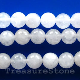 Bead, white jade, round, 10mm. Sold per 15.5-inch strand.