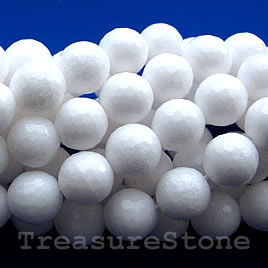 Bead, white stone/white jade, 8mm faceted Round. 16-inch strand.