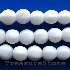 Bead, white stone/white jade, 8mm 6-sided lantern. 15.5-inch.