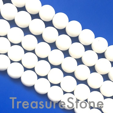 "Bead, white jade, solid white, 8mm round, matte. 15.5"", 50pcs."