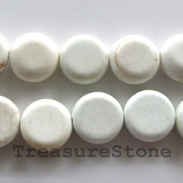 Bead, white turquoise, 14x5mm coin. Sold per 16 inch strand