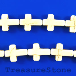 Bead, white turquoise, 12x17mm cross. 15.5-inch