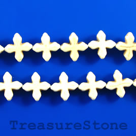 Bead, white turquoise, 15mm cross. 15.5-inch
