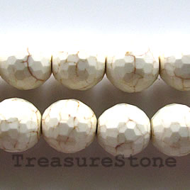 Bead, white turquoise,12mm faceted round.Sold per 16 inch strand