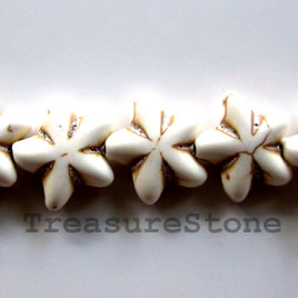 Bead, white turquoise, 22mm flower. Sold per 16 inch strand