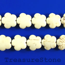 Bead, white turquoise, 16mm flower. 16-inch