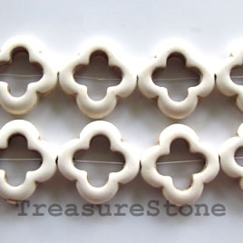 Bead, white turquoise, 21mm flower donuts. 20pcs