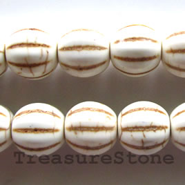 Bead, white turquoise,12x13mm pumpkin. Sold per 15.5 inch strand