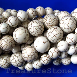Bead, white turquoise, 6mm round. Sold per 16 inch strand