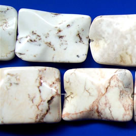 Bead, white turquoise wave rectangle - Grade B 29x39mm