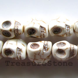 Bead, white turquoise,center-drilled,15x20x17mm skull. 23pcs