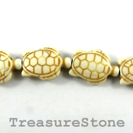 Bead, white turquoise, 20x28mm 2-sided turtle. 15pcs