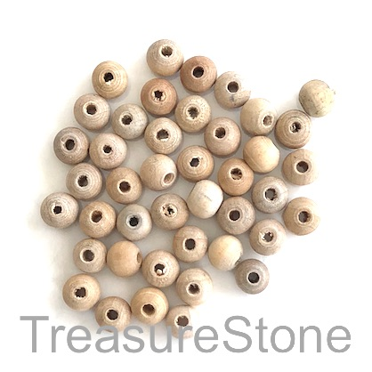Bead, wood, natural, 5 to 6mm round. Pkg of 150pcs.