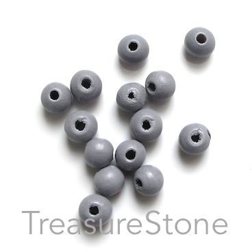 Bead, wood, grey, 7 to 8mm round. Pkg of 100pcs.