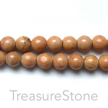Bead, scented wood, light brown, 8mm round. Pkg of 108pcs.