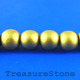 Bead, wood, gold, 17mm round. Pkg of 20pcs.