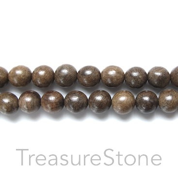 Bead, scented wood, greyish brown, 8mm round. Pkg of 108pcs.