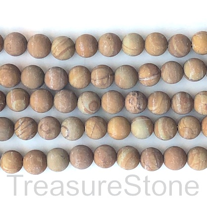 Bead, wood jasper, 8mm round, matte, frosted. 15.5 inch, 46pcs