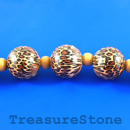 Bead, wood, leopard, 24mm round. Pkg of 12pcs.
