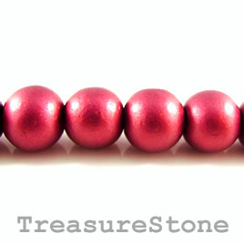 Bead, wood, maroon, 19mm round. Pkg of 20pcs.