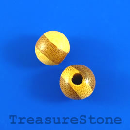 Bead, wood, beige, 12 to 13mm round. Pkg of 40pcs.