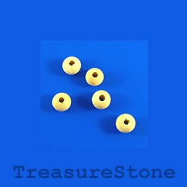 Bead, wood, beige, 5 to 6mm round. Pkg of 150pcs.