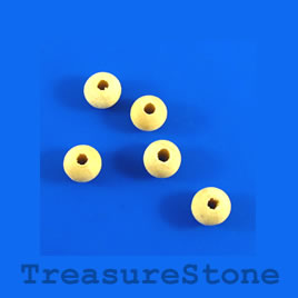 Bead, wood, beige, 7 to 8mm round. Pkg of 100pcs.