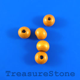 Bead, wood, brown, 7 to 8mm round. Pkg of 100pcs.