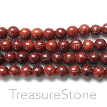 Bead, scented wood, dark red, 6mm round. Pkg of 108pcs.