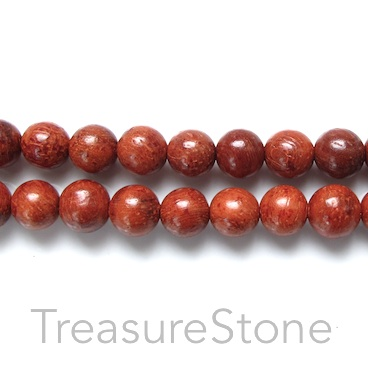 Bead, scented wood, dark red, 8mm round. Pkg of 108pcs.