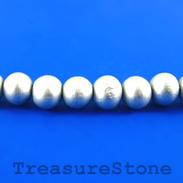 Bead, wood, silver, 10mm round. Pkg of 45pcs.