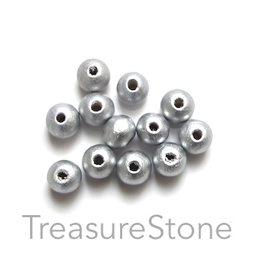 Bead, wood, silver, 7 to 8mm round. Pkg of 100pcs.