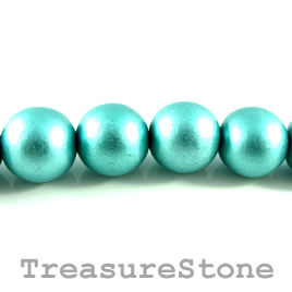 Bead, wood, turquoise, 18mm round. Pkg of 20pcs.