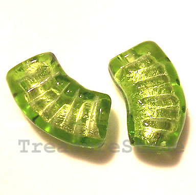 Bead, lampworked glass, green, 11x9x20mm curve. Pkg of 6.