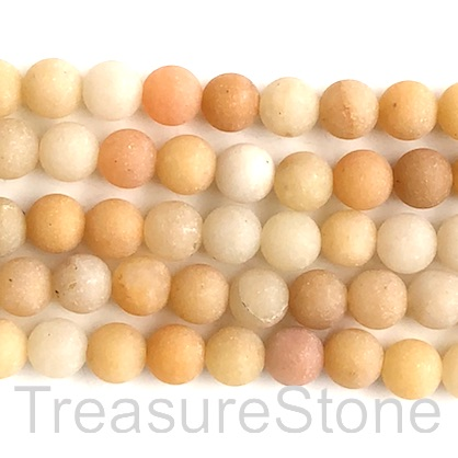Bead, yellow jade, 8mm round, matte. 14.5-inch strand, 45pcs
